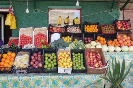 Colorful fruits and vegetables in an open street market