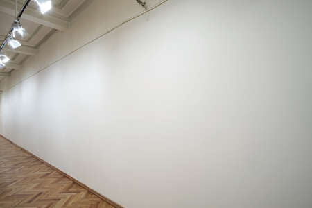 Interior of a empty white wall in perspective with spot lights at art gallery