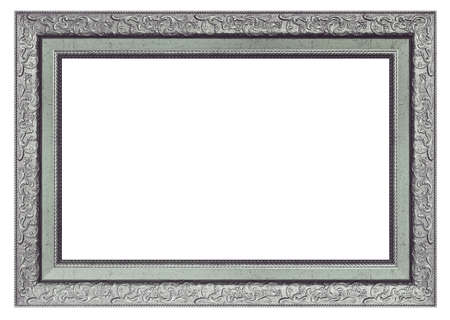 Old vintage silver frame isolated on a white background