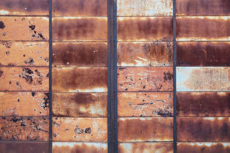 Aged iron surface grunge background. Detail of rusty metal gate with peeling paint 版權商用圖片
