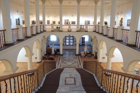 Batumi, Georgia, December, 17, 2020: Interior and arts of empty art galley