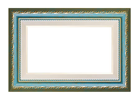 Blue and green vintage frame on a white background, isolated