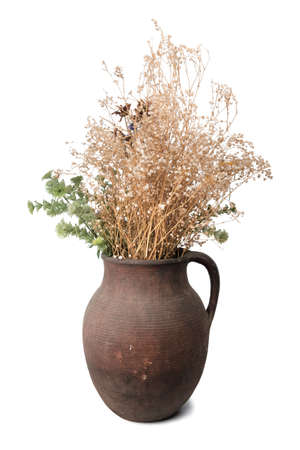 Old clay brown jug with dry flowers isolated on white background