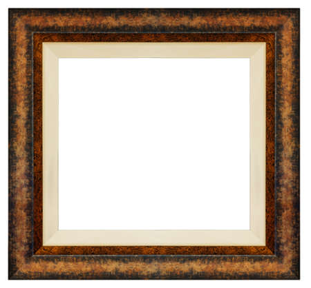 Old vintage brown frame isolated on a white background