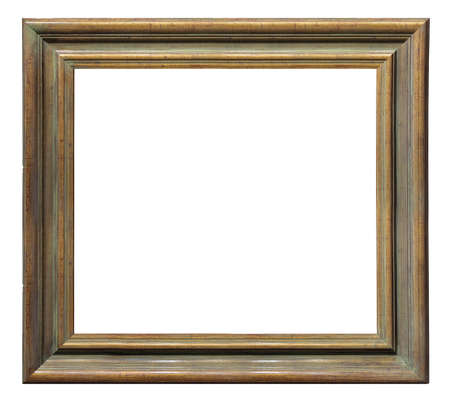 Old vintage wooden golden brown frame isolated on a white background