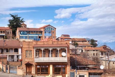 Telavi, Georgia, February, 28, 2021: Old historical part of Telavi town, capital city of Kakheri region, Georgia