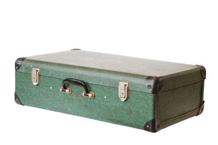 Old vintage green leather suitcase isolated on white background