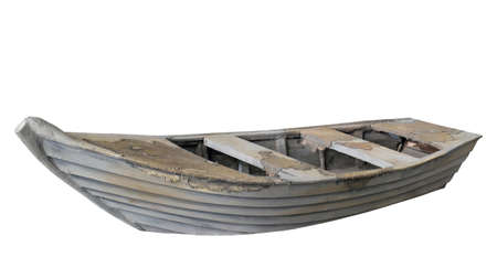 Old wooden empty boat isolated on white background, side view