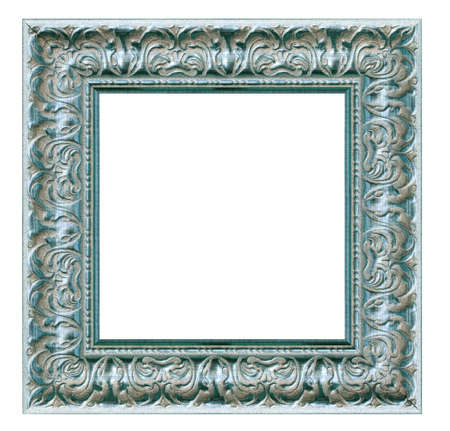 Old vintage blue silver frame isolated on a white background