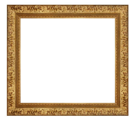 Old style vintage golden frame isolated on a white background 版權商用圖片