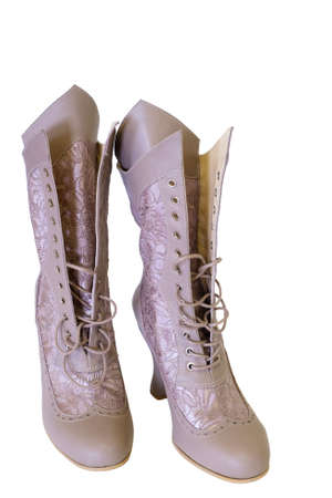 Vintage ladies high heels boot isolated on a white background Standard-Bild