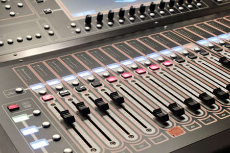Detail of a professional stage lighting control console