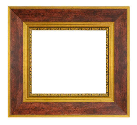Old style vintage brown and golden frame isolated on a white background