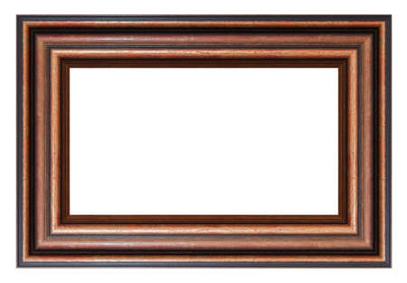 Old style vintage wooden brown frame isolated on a white background Standard-Bild