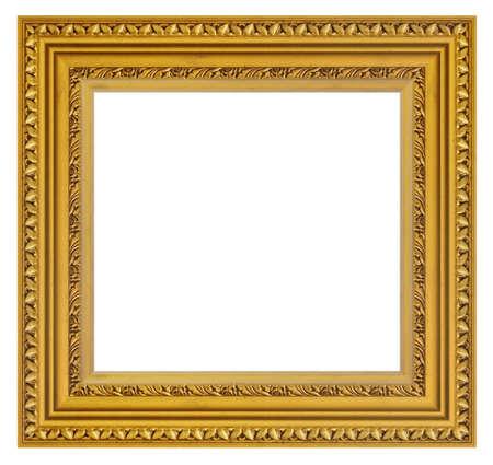 Old style vintage golden frame isolated on a white background Standard-Bild