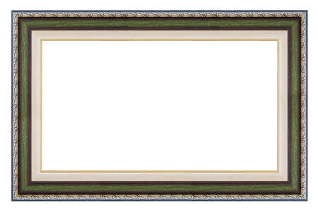 Old style vintage green and silver frame isolated on a white background Standard-Bild