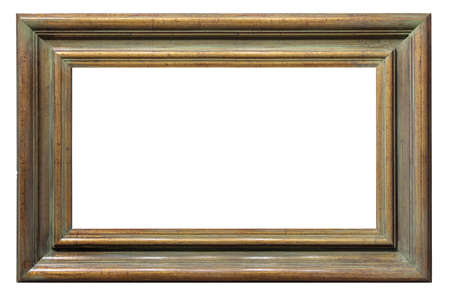 Old style vintage wooden golden brown frame isolated on a white background Standard-Bild