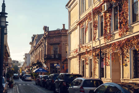 Batumi, Georgia, November 24, 2018 : View of street in old district of Batumi at sunset