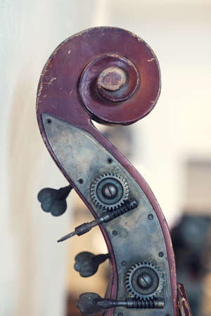 Closeup view of an old violin details of a head on a blurred background