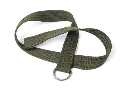 Textile khaki color belt isolated on white background Standard-Bild