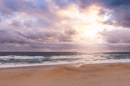 Stormy ocean beach landscape