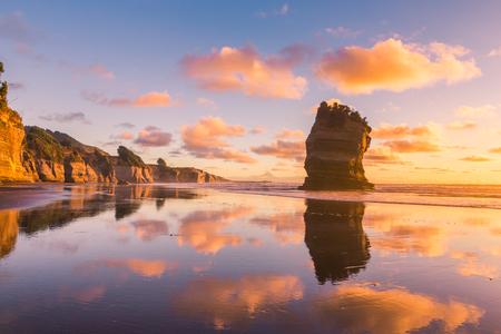 Sunset rocky beach landscape
