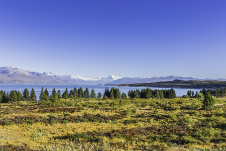 Morning view on Mt Cook over Pukaki lake Stock Photo