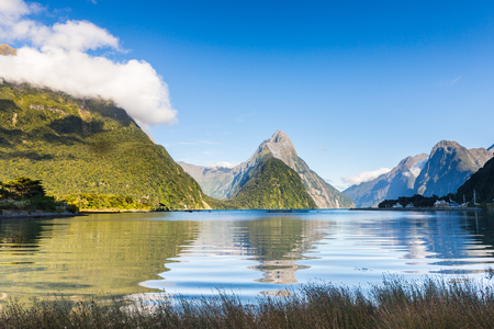 Morning view of Milford Sound and Mitre Peak over the calm water 版權商用圖片