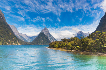 Dramatic clouds over Milford Sound fiord view 版權商用圖片