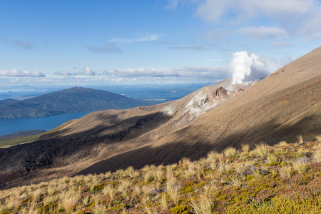 View of the Great Lake Taupo from Mt Tongariro