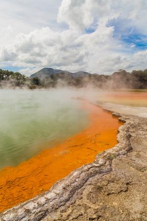 Colorful Champagne Pool in Wai-O-Tapu geothermal park, Rotorua, New Zealand