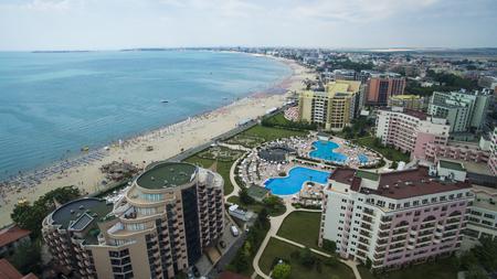 Luchtfoto van Sunny Beach, Bulgarije Stockfoto