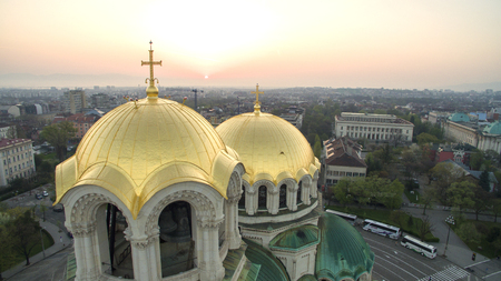 Aerial view of St. Alexander Nevsky cathedral, Sofia, Bulgaria