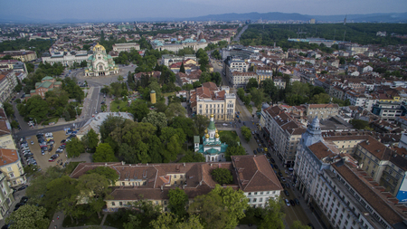 Aerial view of Sofia city center, Bulgaria