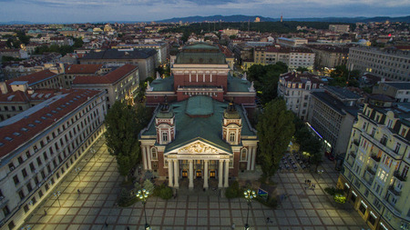 Aerial view of the National Theater, May 1, Sofia, Bulgaria