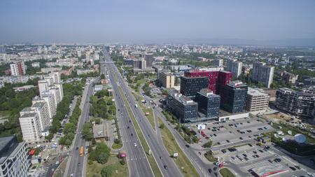 Aerial view of the Tsarigradsko chaussee bolulevard, May 1, Sofia, Bulgaria