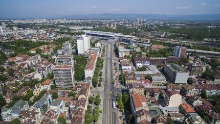 Aerial view of Maria Luiza boulevard, May 1, Sofia, Bulgaria