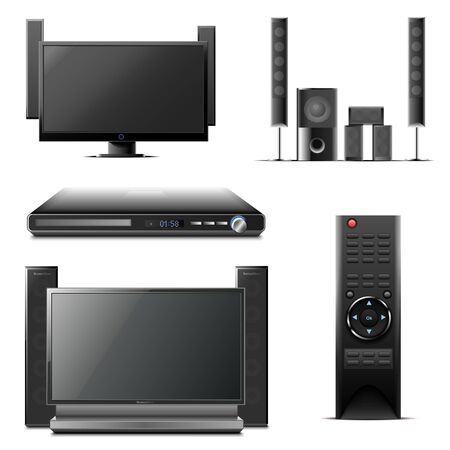 dvd player: audio and video  icon set