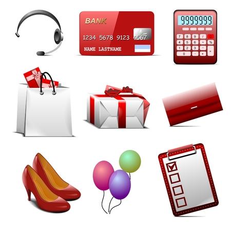 shoe boxes: conjunto de iconos de compras