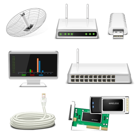 hub computer: network hardware icon set Illustration