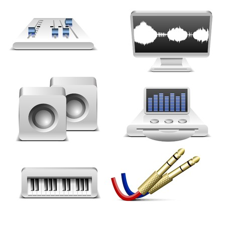 music and sound equipment   icons set