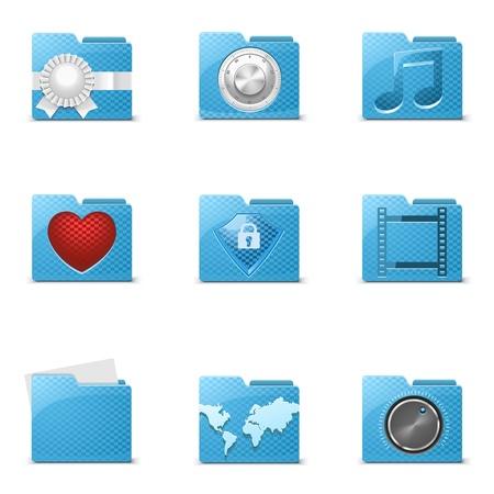 blue folders vector icons Stock Vector - 14850441