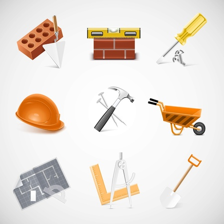 building and construction detailed vector icon set