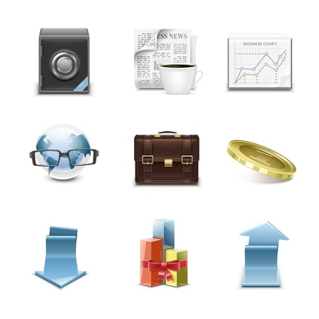 detailed business vector icon set