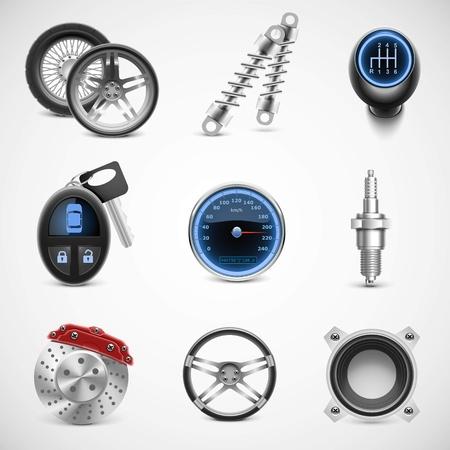 piezas coche: auto partes vector icon set