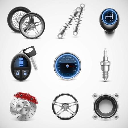 shock absorber: car parts vector icon set