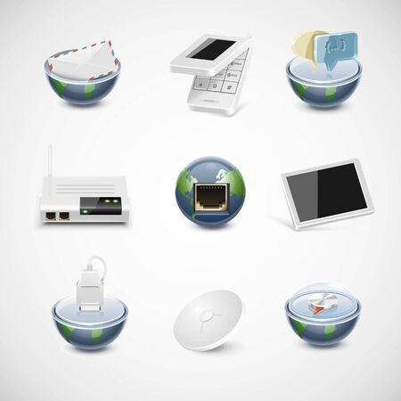 sattelite: connection and net vector icon set Illustration