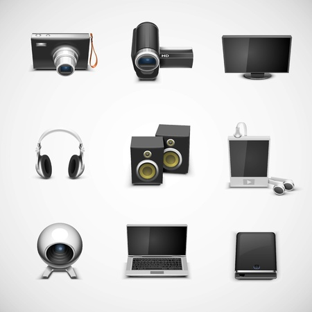 electronic devices: electronics vector icon set Illustration