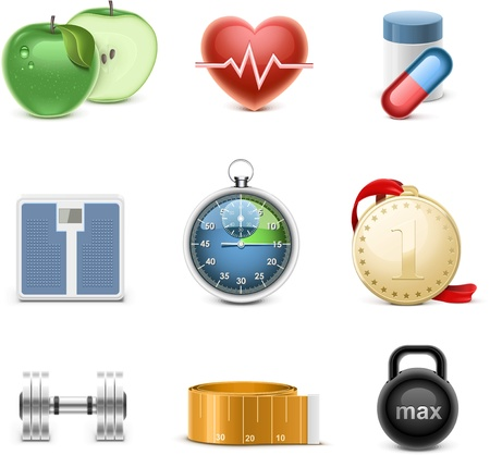 fitness vector icon set Stock Vector - 14850449