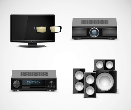 hi fi system: home electronics vector icons Illustration